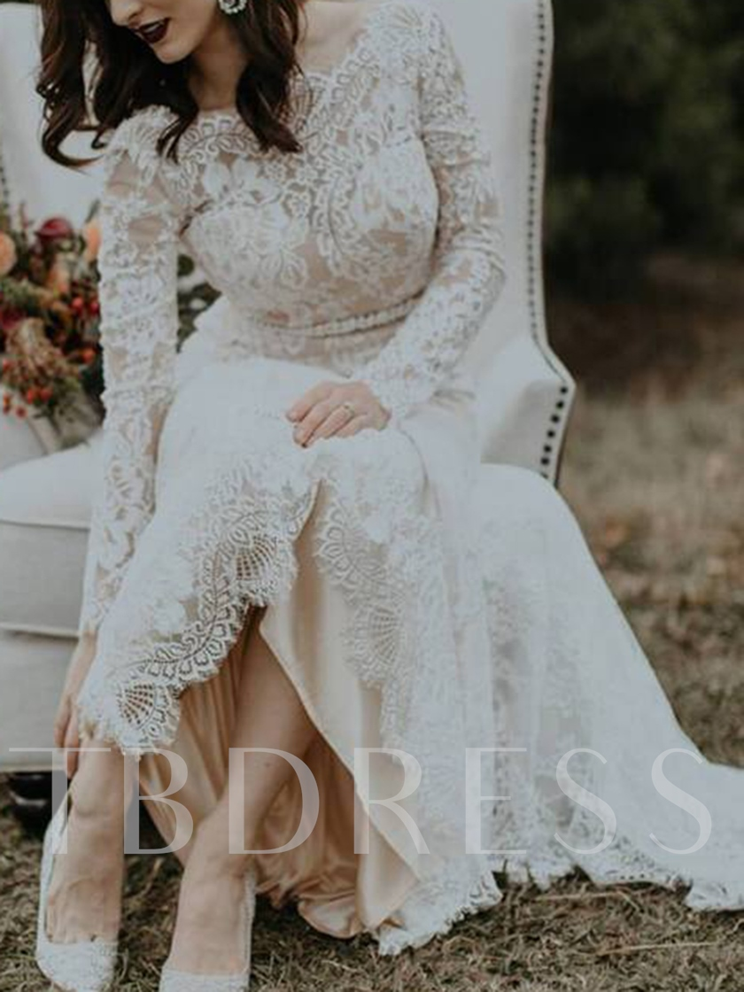 Long Sleeves Backless Beading Lace Wedding Dress