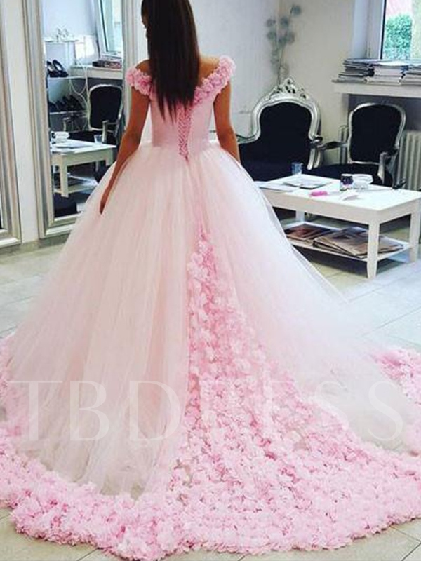 Ball Gown Off-The-Shoulder Flowers Pink Wedding Dress 2019