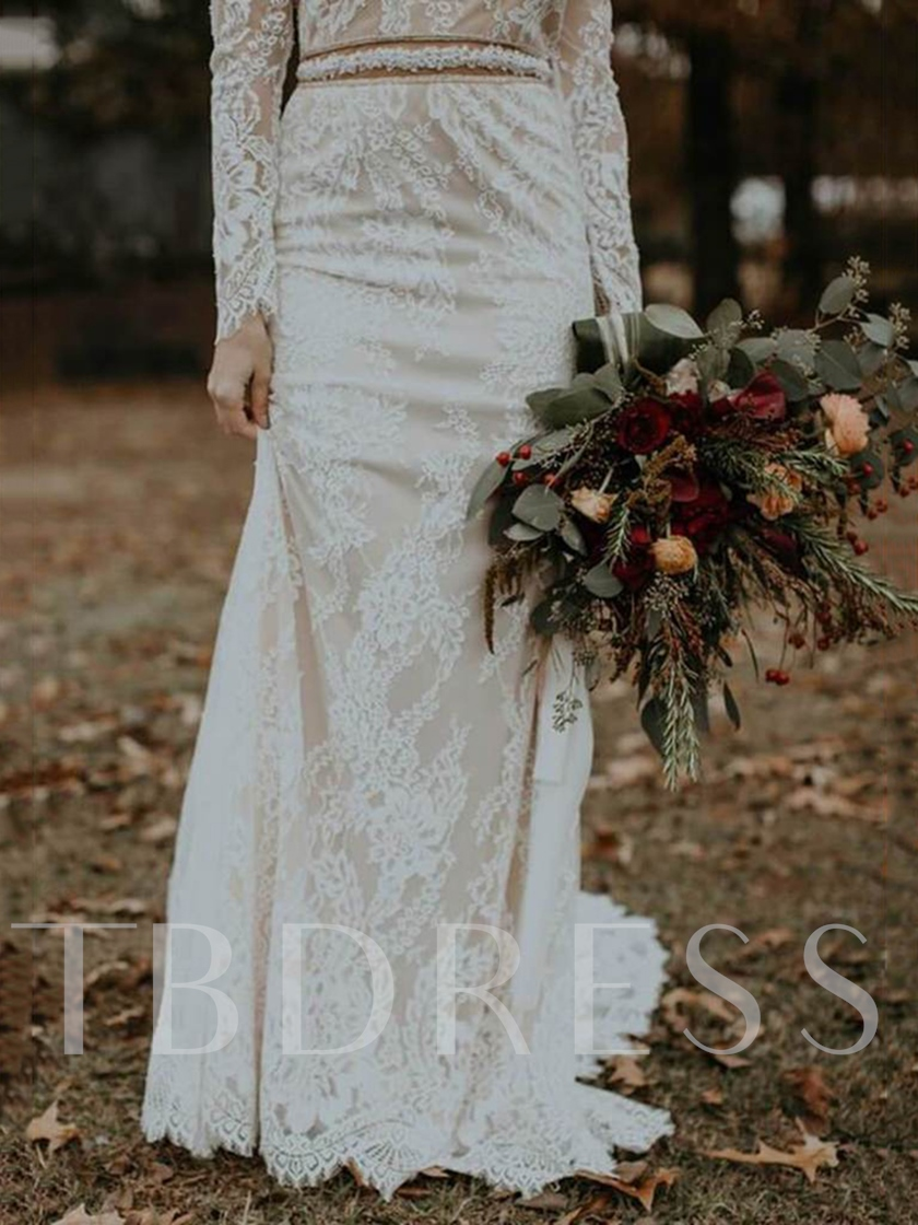 Long Sleeves Backless Beading Lace Wedding Dress 2019