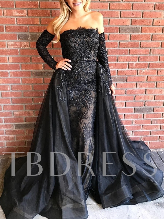 Long Sleeves Lace Sheath Off-The-Shoulder Evening Dress 2019