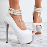White Peep Toe Pearl Ankle Strap High Heel Shoes