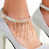 Silver Sequins Prom Shoes With Tassels
