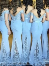 Appliques Off-The-Shoulder Mermaid Bridesmaid Dress 2019