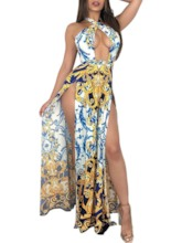 Prints Sleeveless Split Pullover Women's Maxi Dress
