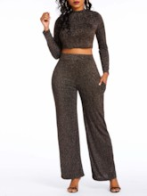 Fashion Plain Pants Pullover Women's Two Piece Sets