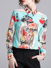 Color Block Figure Print Women's Shirt