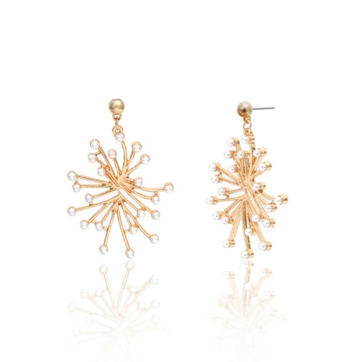 Creative Pearl Decorated E-Plating Alloy Drop Earrings