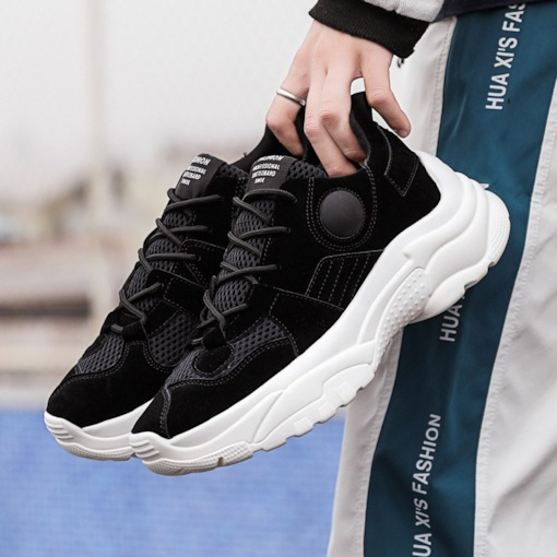 Low-Cut Upper Lace-Up Round Toe Men's Sneakers
