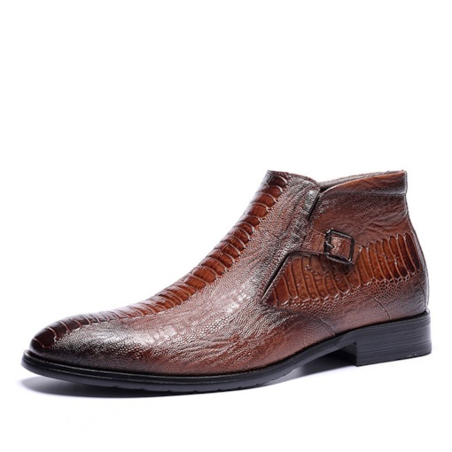 Snake Print Round Toe Side Zipper Flat Men's Ankle Boots
