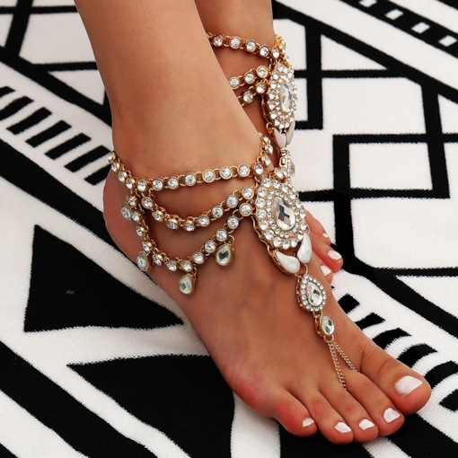 Shiny Full Drill Ethnic Alloy Anklet