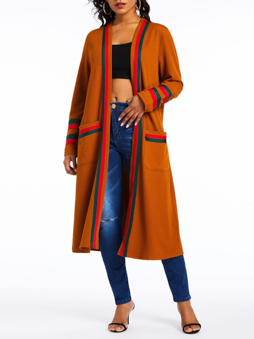 Color Block Dual Pockets Long Women's Cardigan