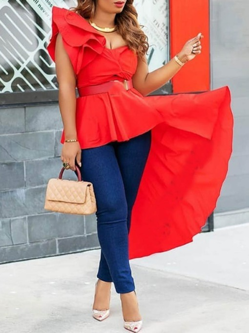 Plain Ruffle Sleeveless Asymmetric Peplum Women's Blouse