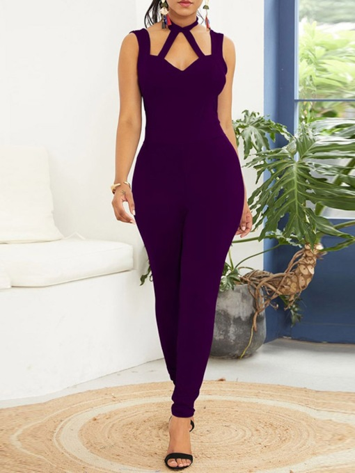 Full Length Backless Plain Pencil Pants Women's Jumpsuit