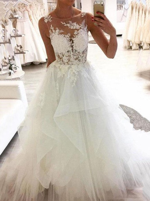 Bateau Neck Appliques Tiered Wedding Dress 2019