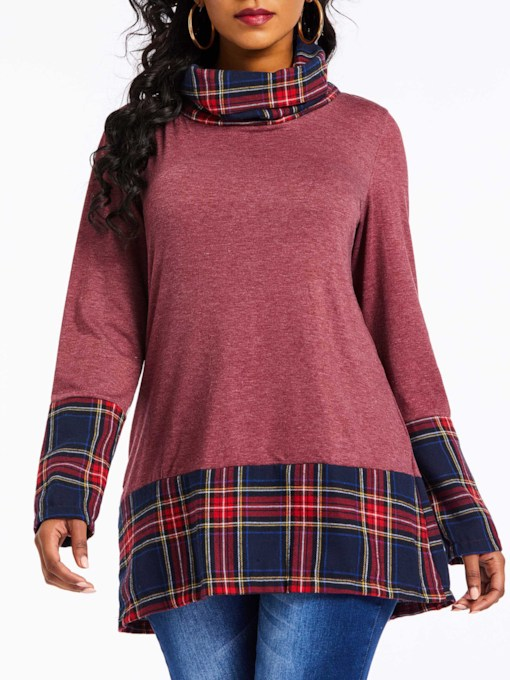 Heap Collar Mid-Length Plaid Women's T-Shirt