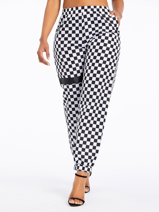 Print Plaid Loose Full Length Women's Casual Pants