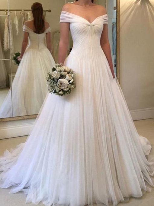 Off the Shoulder Ruched A-Line Wedding Dress 2019