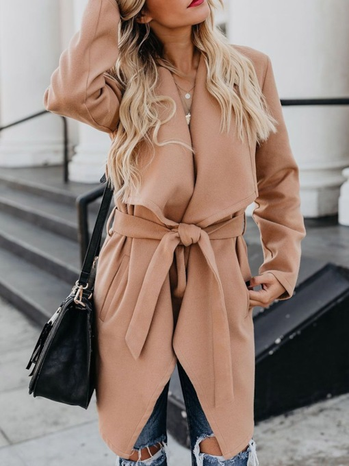 Mid-Length Wide-Lapel Camel Women's Trench Coat