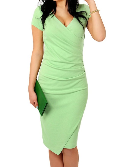 V-Neck Patchwork Short Sleeve Pencil Women's Bodycon Dress