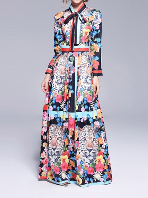 Floral Print Long Sleeve Color Block Women's Maxi Dress