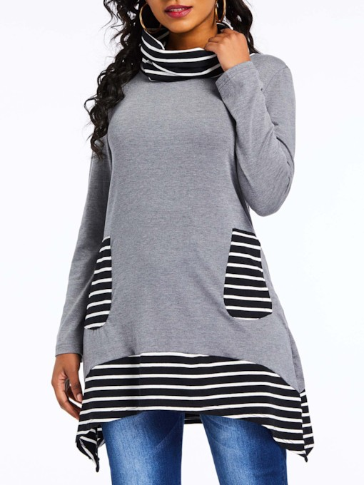 Heap Collar Stripe Print Asymmetric Women's Sweatshirt