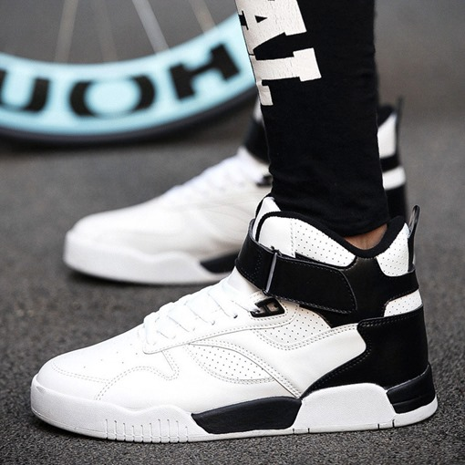 Velcro Flat With Sports Round Toe High Top Men's Sneakers