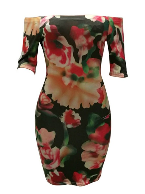 Print Off Shoulder Three-Quarter Sleeve Women's Bodycon Dress