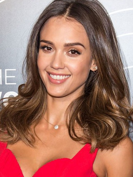 Jessica Alba New Bob Haircut Long Loose Wave Layered Synthetic Hair Capless Wigs 24 Inches