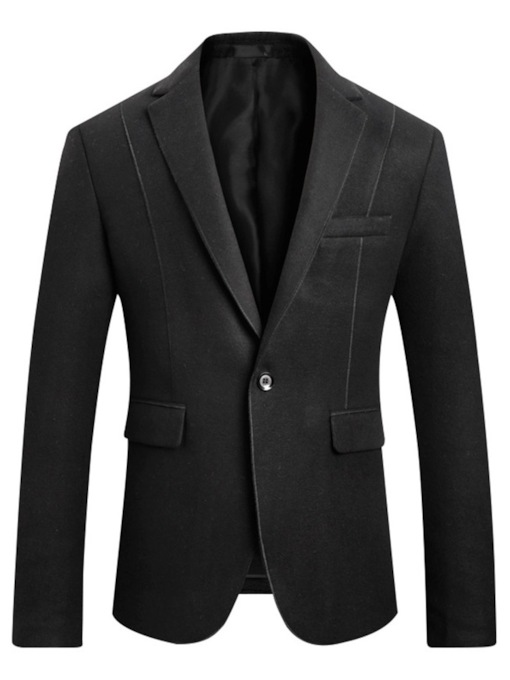 One Button Plain Slim Pocket Men's Blazer