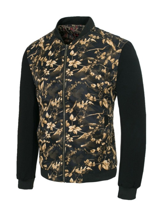 Stand Collar Floral Thick Patchwork Slim Men's Jacket