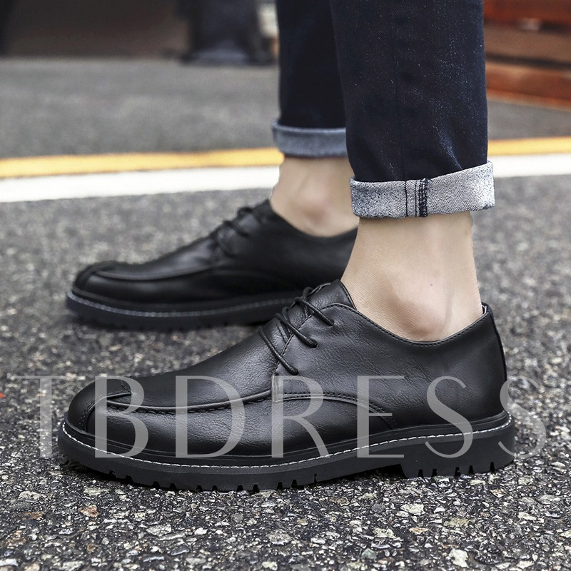 Lace-Up Flat Low-Cut Upper Thread Round Toe Men's Casual Shoes