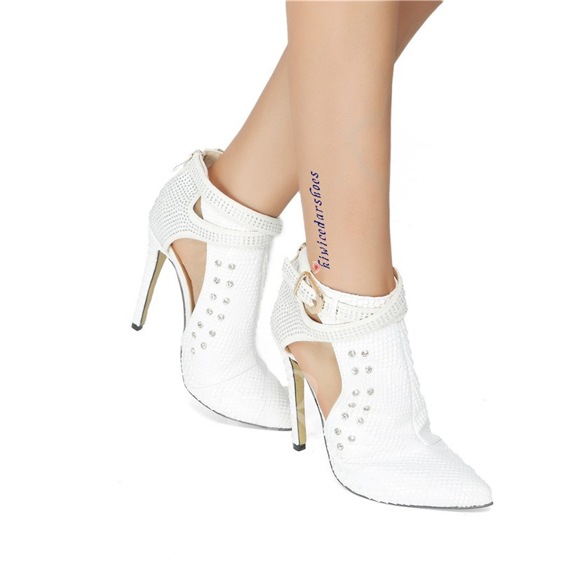 Pointed Toe Side Zipper Rhinestone Women's Pumps
