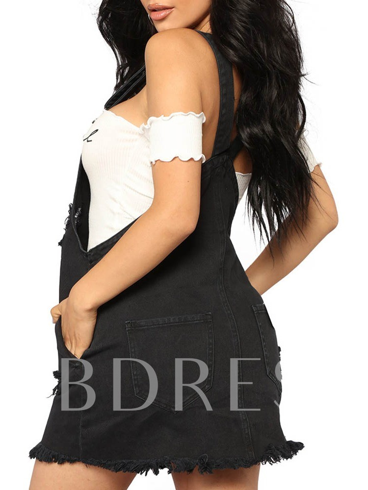 Sleeveless Suspenders Hole Plain Women's Day Dress