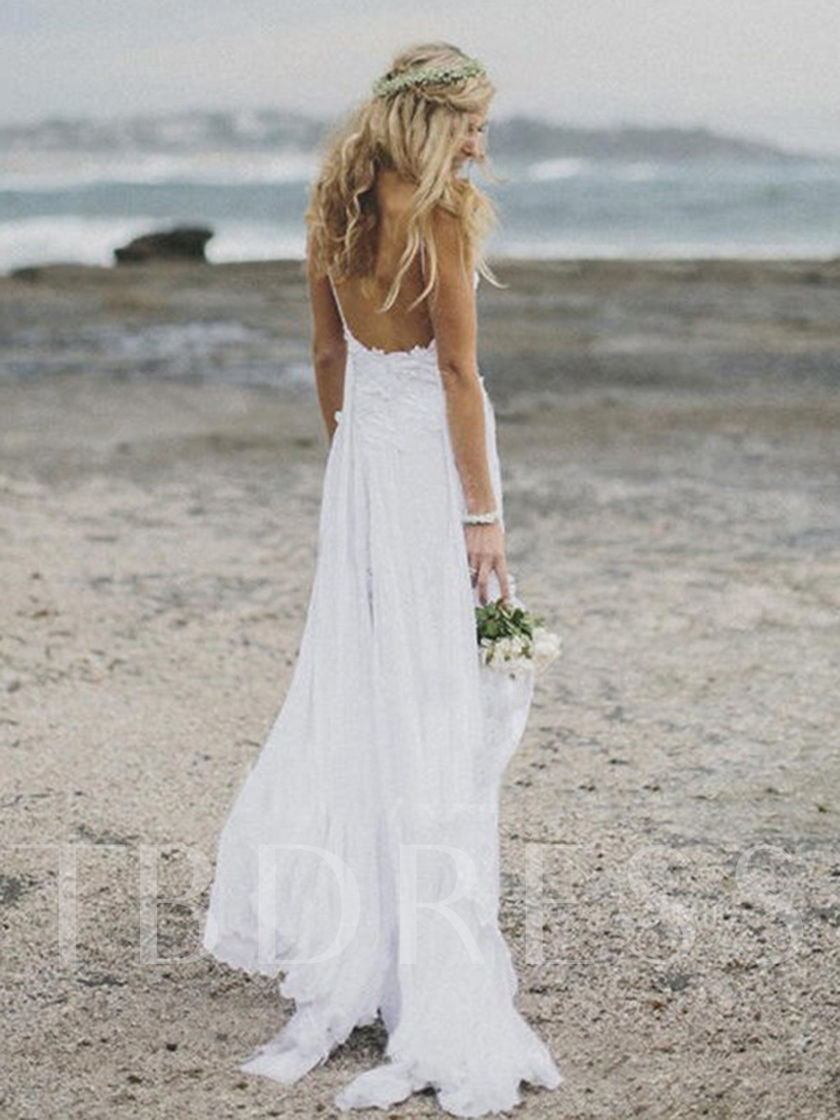 Spaghetti Straps Split-Front Lace Beach Wedding Dress