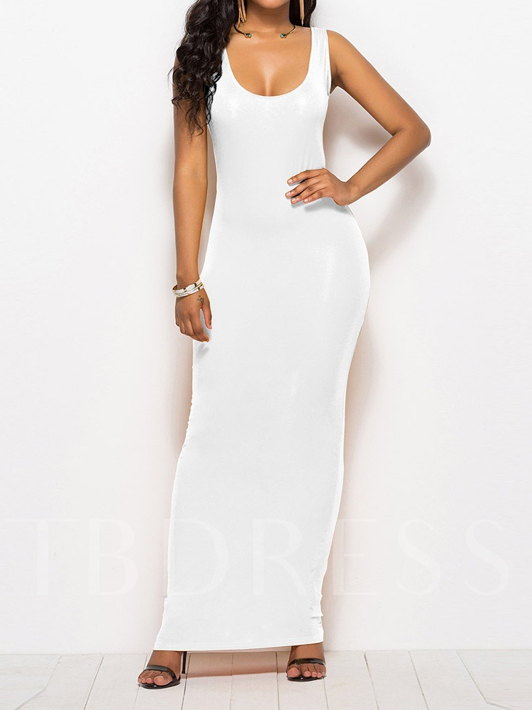 Casual Sleeveless Plain Fashion Women's Maxi Dress