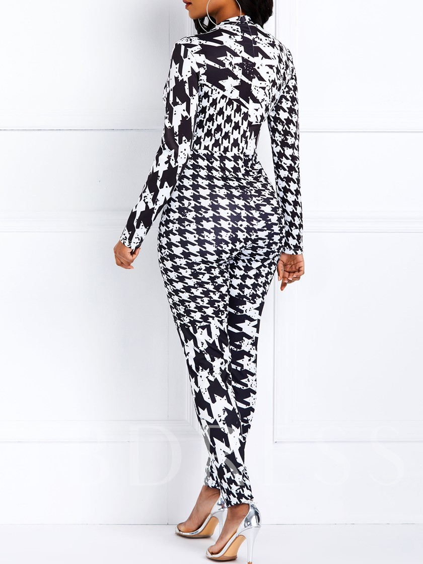 Full Length Houndstooth Casual Slim Women's Jumpsuit