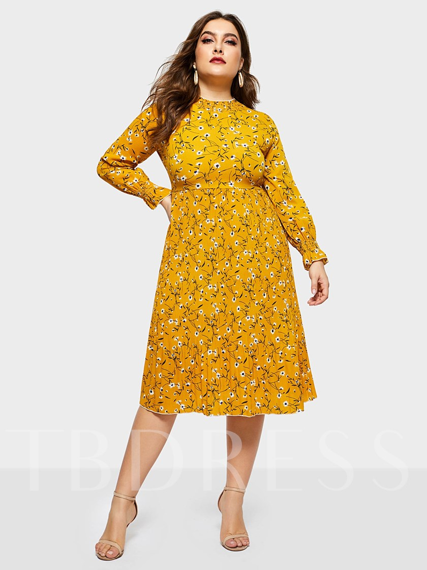 Plus Size Long Sleeve Round Neck Expansion Women's Day Dress