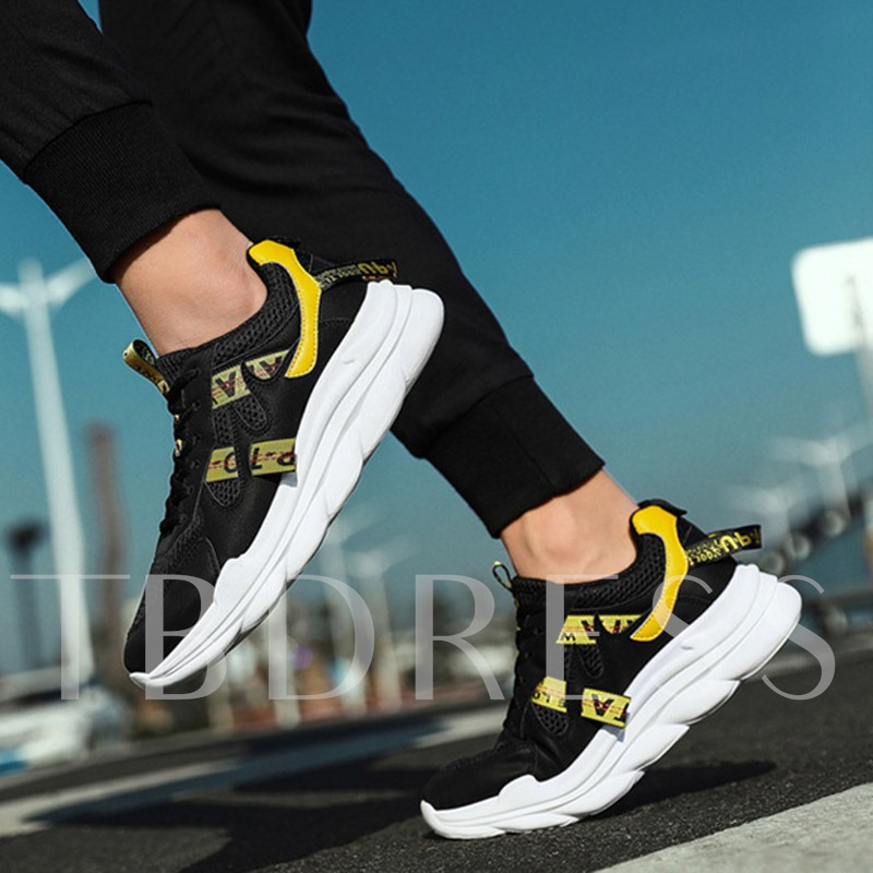 Sports Lace-Up Low-Cut Upper Round Toe Chic Men's Sneakers