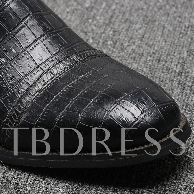 Pointed Toe Side Zipper Alligator Print PU Men's Ankle Boots