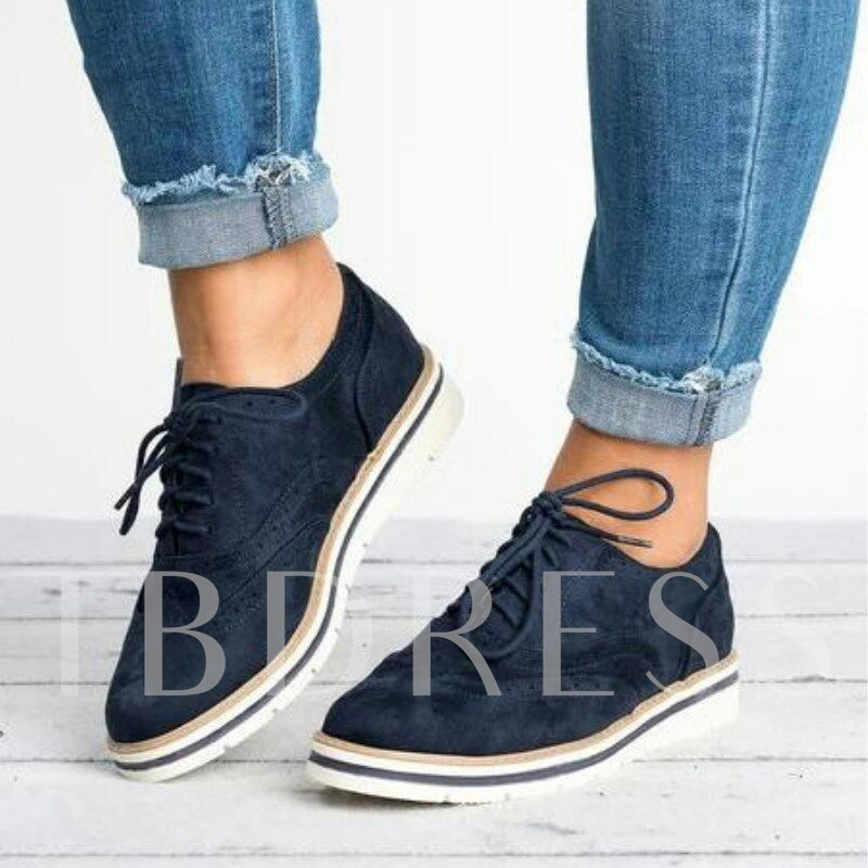 Low-Cut Upper Round Toe Hollow Lace-Up Plain Sneakers