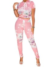 Lace-Up Floral Casual Pants Pullover Women's Two Piece Sets