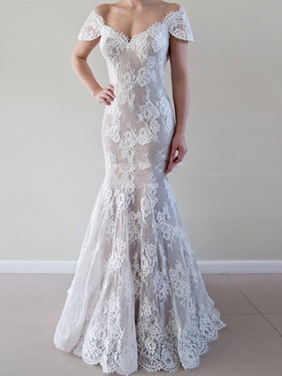 V-Neck Cap Sleeves Lace Wedding Dress 2019 V-Neck Cap Sleeves Lace Wedding Dress 2019