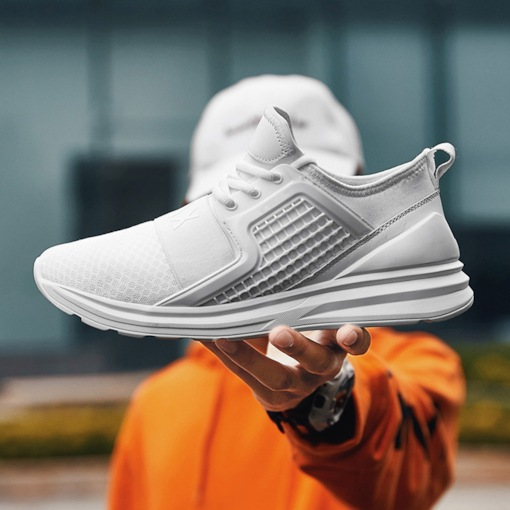 Lace-Up Mid-Cut Upper Mesh Casual Men's Sneakers