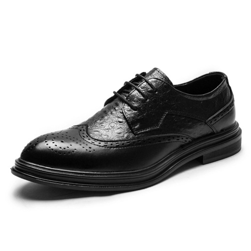 Low-Cut Upper Plain Pointed Toe Leather Men's Business Shoes
