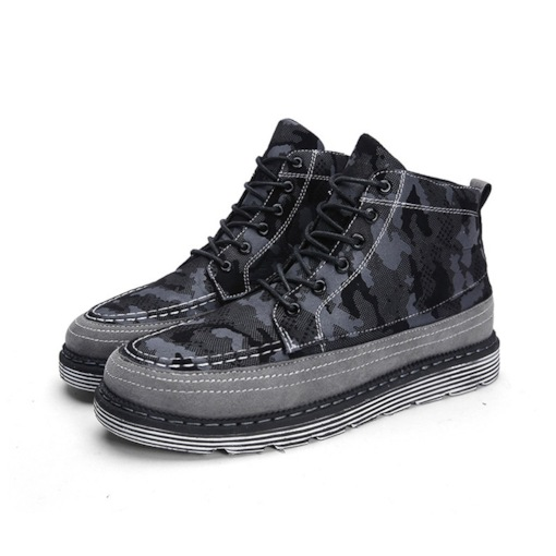 Camouflage Lace-Up Front Round Toe High Top Men's Sneakers