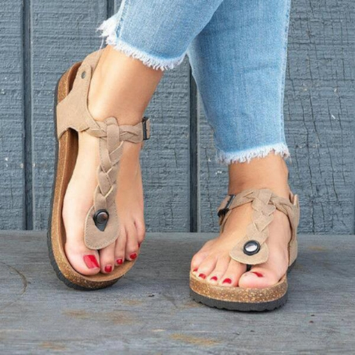 Thong Flat With Buckle Western Women's Sandals