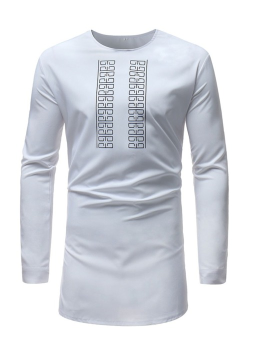 Round Neck African Ethnic Style Print Long Sleeve Men's T-shirt