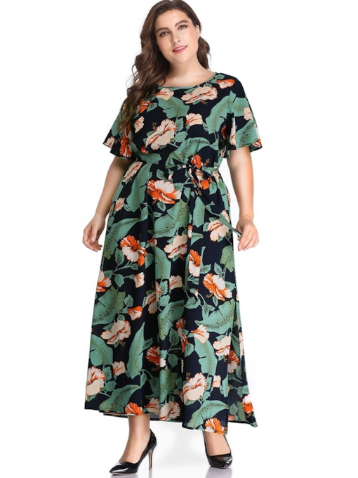 Short Sleeve Round Neck Split A-Line Women's Maxi Dress