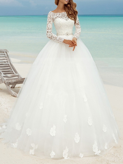 Bateau Neck Beading Long Sleeves Lace Wedding Dress 2019