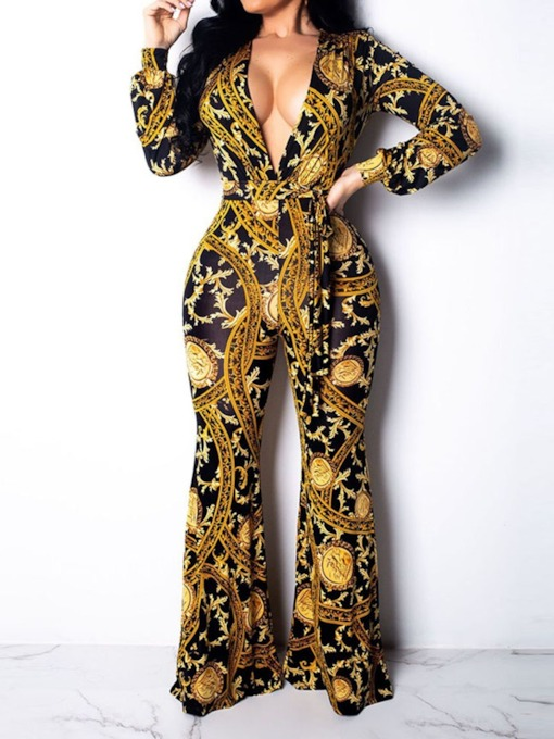 Geometric Print Full Length Sexy High-Waist Women's Jumpsuit